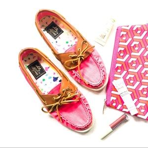 Milly x Sperry Pink Canvas  + Leather Top Siders